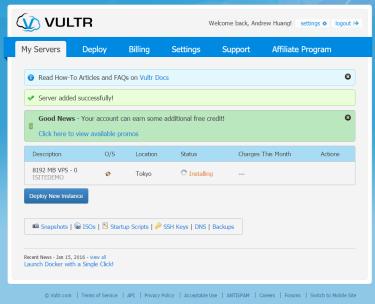 VULTR-INSTALLING